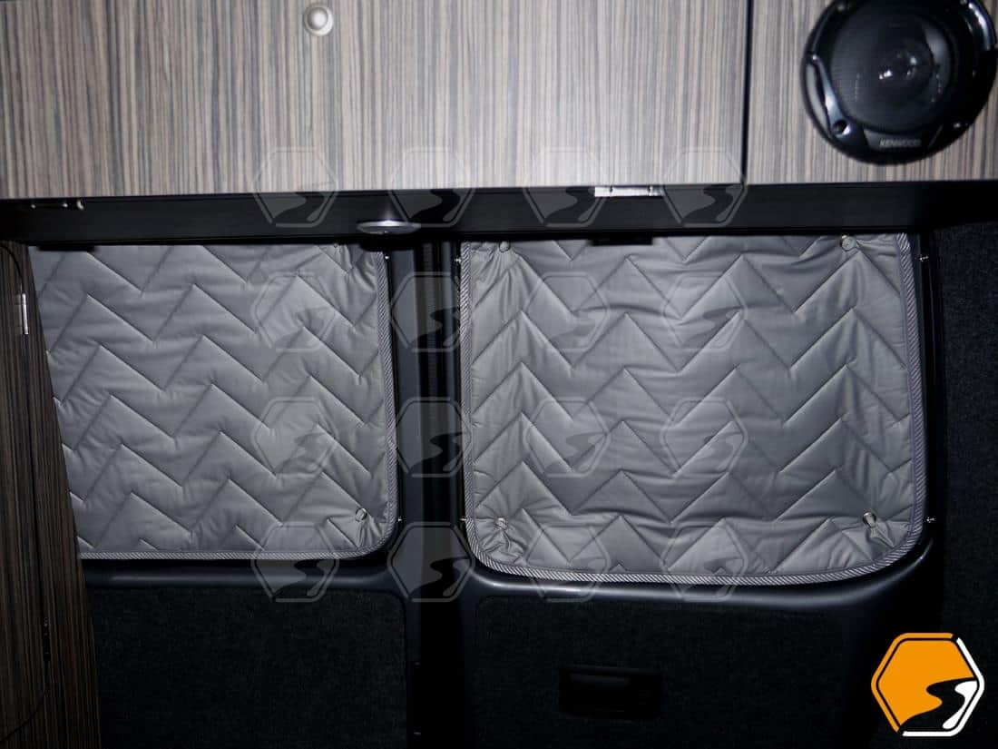Silver thermal screen window coverings for VW Transporter rear doors double barn doors
