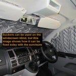 Silver thermal screens window coverings for VW Transporter front cab drivers door passenger door
