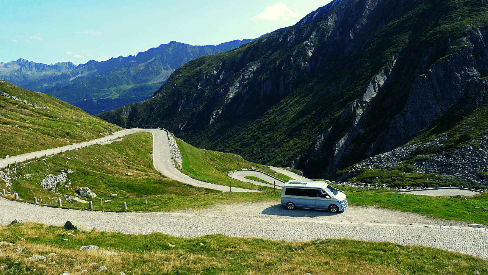 VW Transporter Campervan in the French mountains